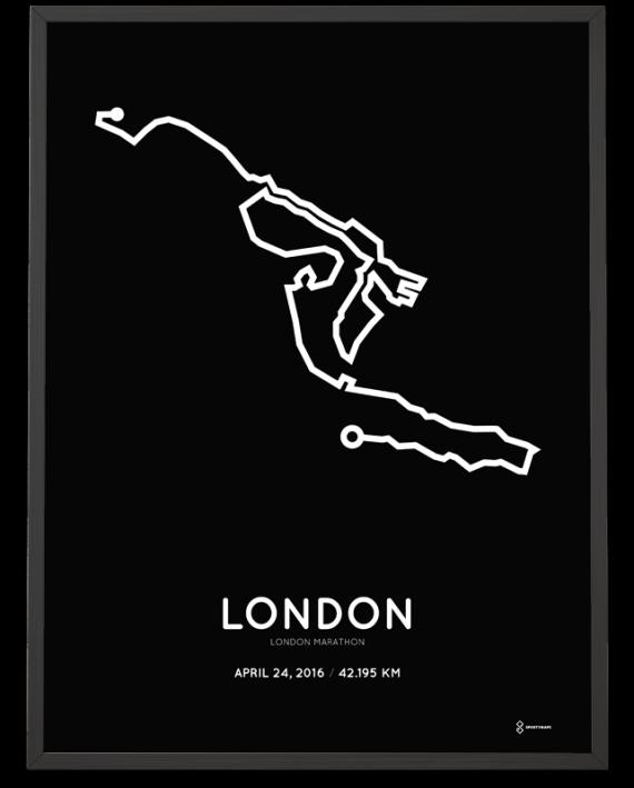 2016 London marathon course poster