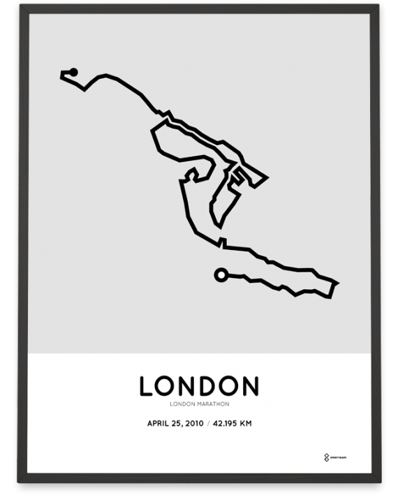 2010 London marathon course map poster