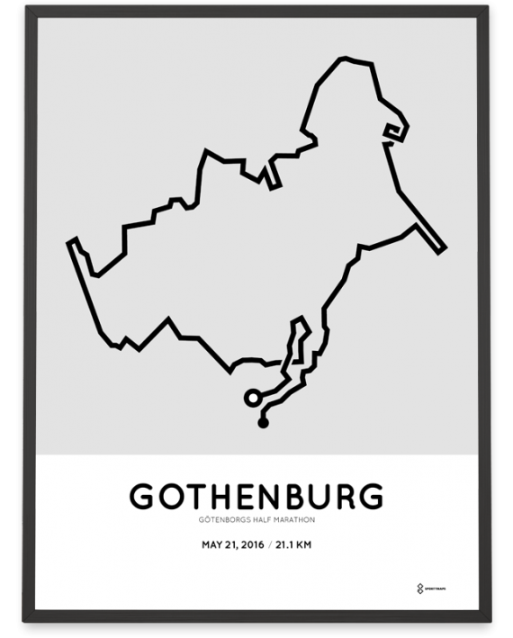 2016 Gothenburg half marathon course poster