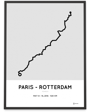 2016 Roparun Paris to Rotterdam course poster