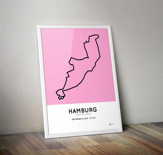 Halbmarathon Hamburg 2016 parcours print