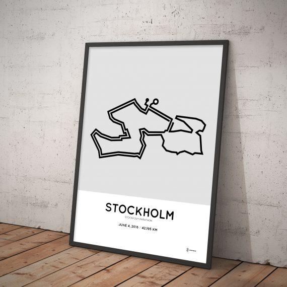 2016 Stockholm marathon course print