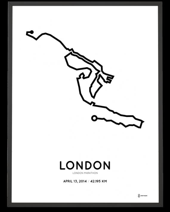 2014 London marathon course poster