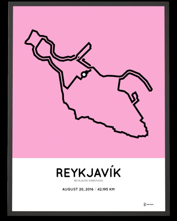 2016 Reykjavik marathon course poster