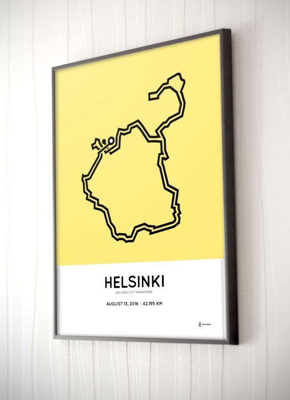 2016 Helsinki marathon course poster