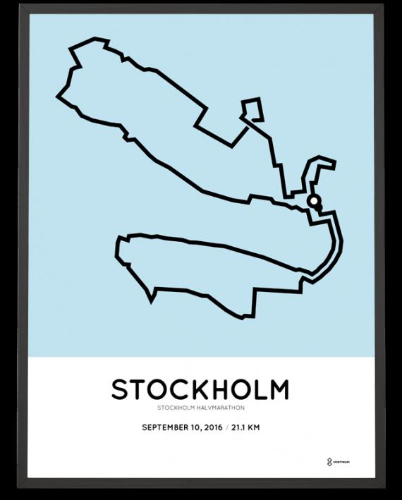 2016 stockholm halvmarathon course poster
