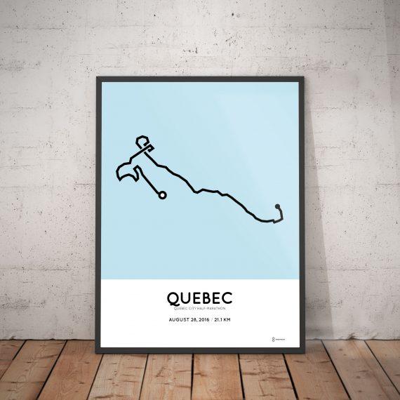 2016 Quebec city half-marathon route map poster