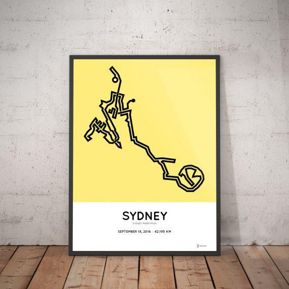 2016 Sydney marathon course print