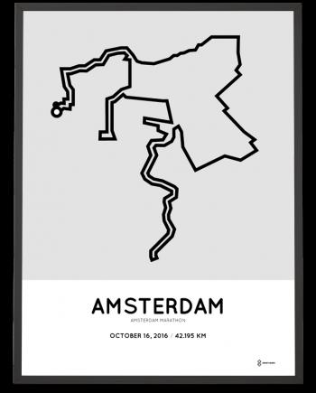 2016 Amsterdam marathon parcours route poster