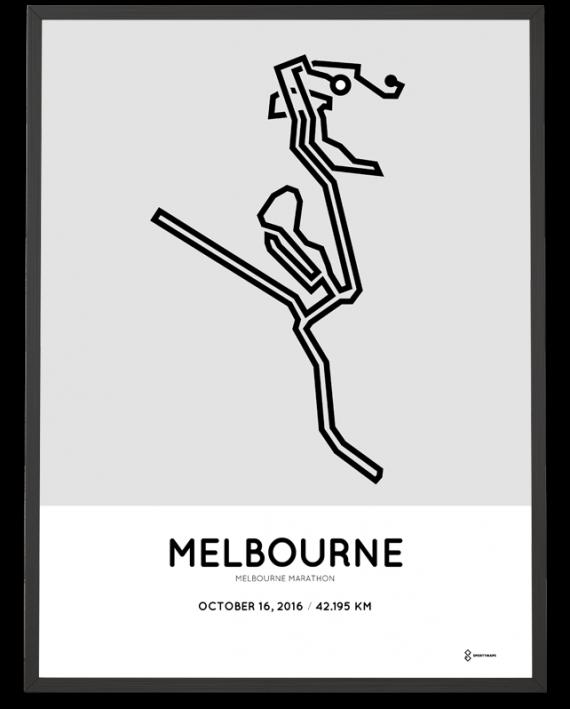 2016 melbourne marathon course poster