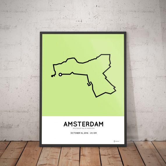 2016 amsterdam halve marathon parcours poster
