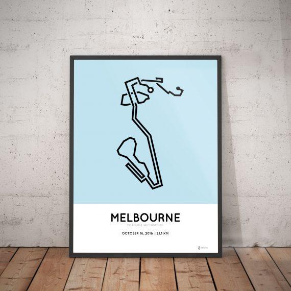 2016 Melbourne half marathon course print art design