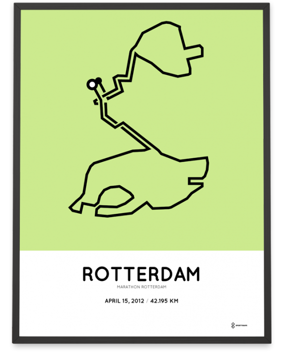 2012 Rotterdam marathon parcours poster print
