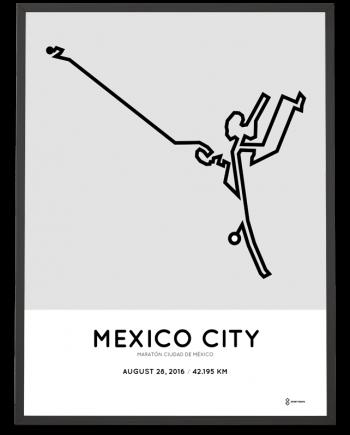 2016 mexico city marathon course art poster