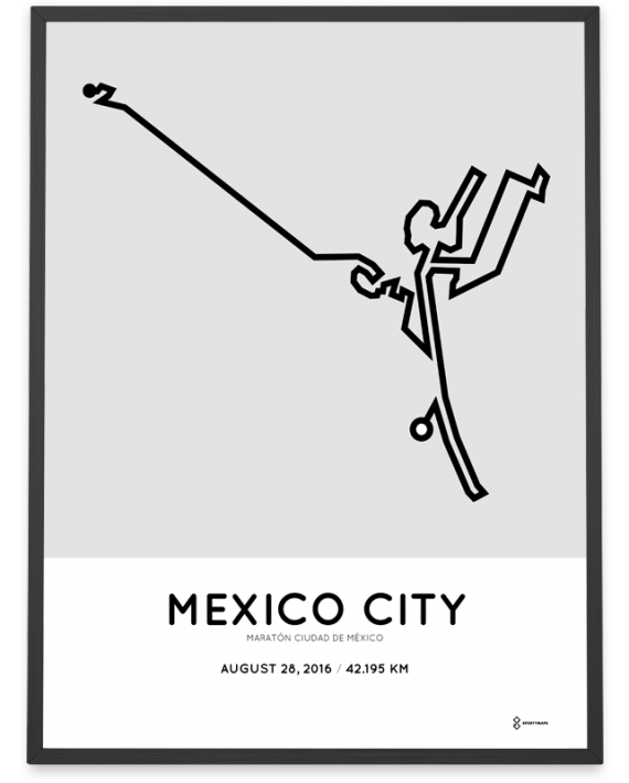 2016 mexico city marathon course art poster
