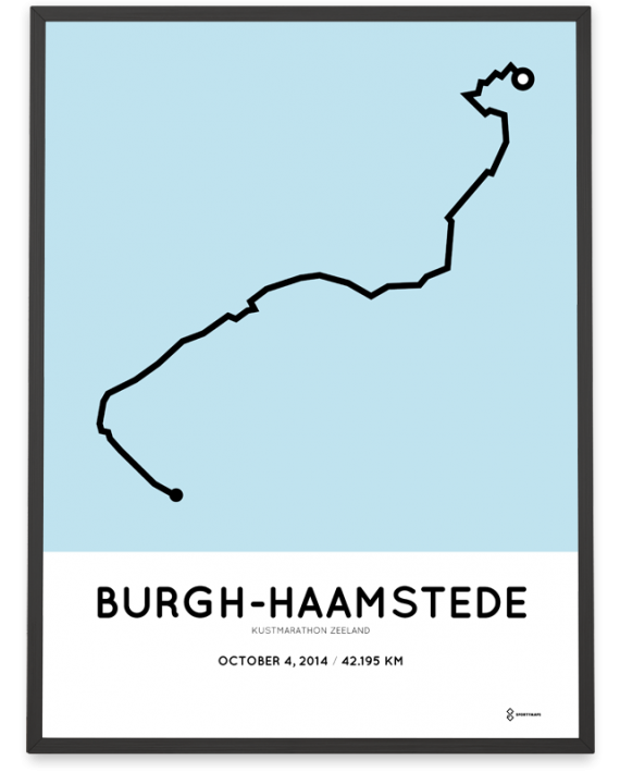 2014 Kustmarathon zeeland parcours poster