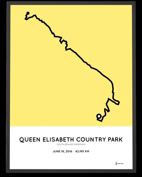 2016 South Downs marathon route poster