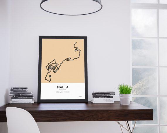 2017 Malta marathon course poster