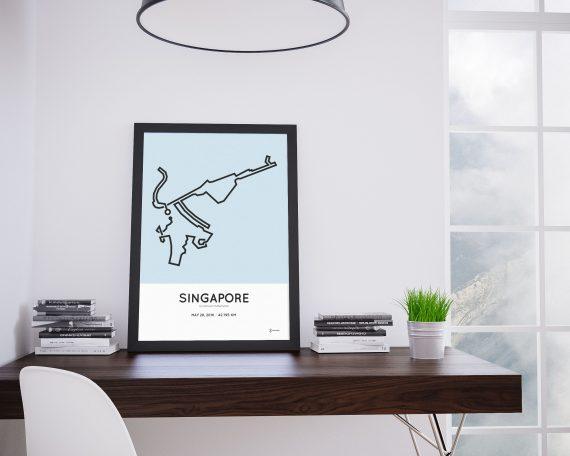 2016 Singapore sundown marathon route print