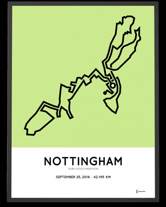 2016 Nottingham marathon course print