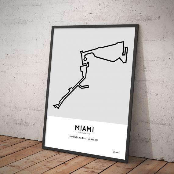 2017 Miami marathon route print
