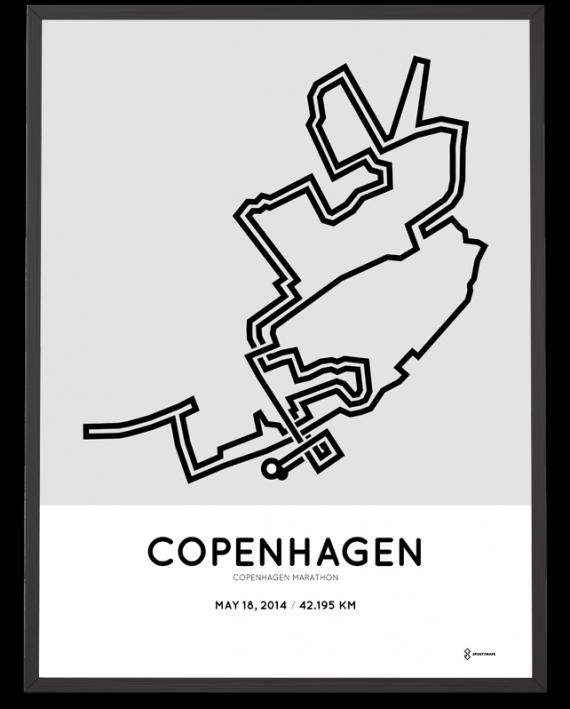 2014 Copenhagen marathon course poster