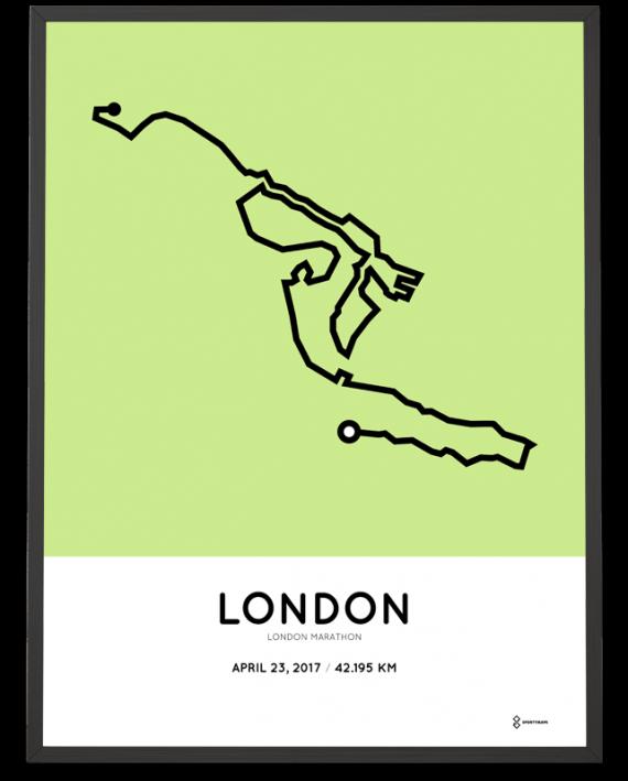 2017 London marathon course print