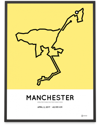 2017 Greater Manchester marathon course print