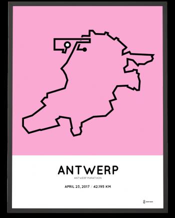 2017 Antwerp marathon route poster