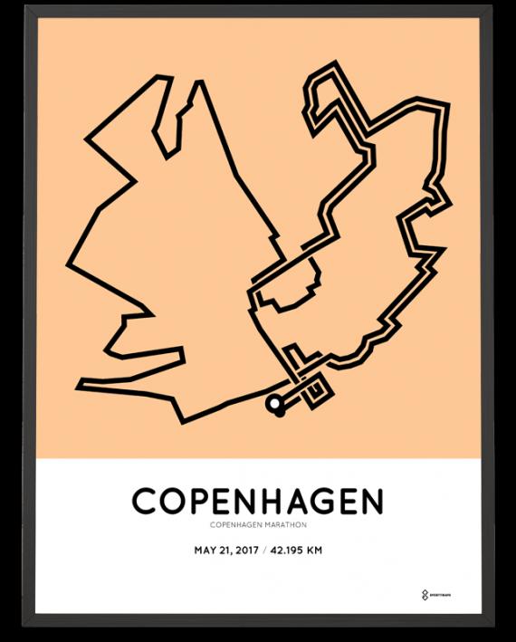 2017 Copenhagen marathon course poster