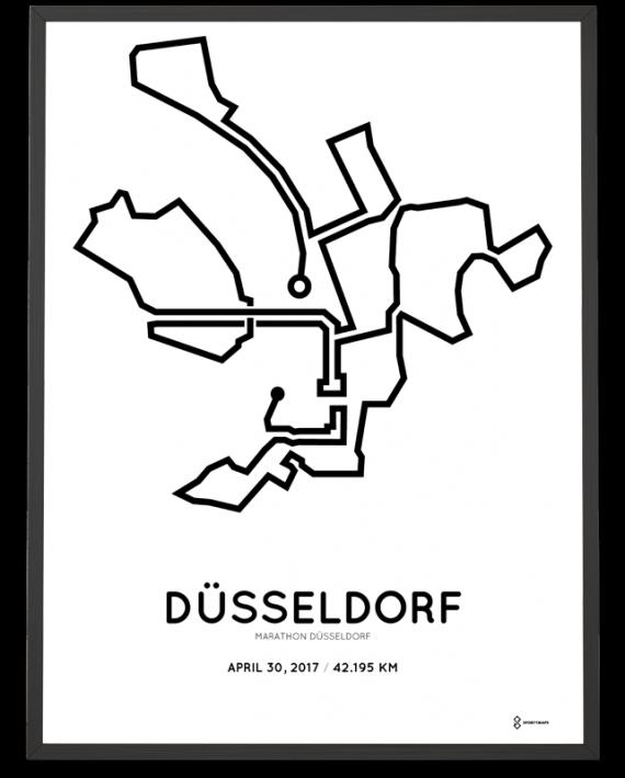 2017 Dusseldorf marathon course print