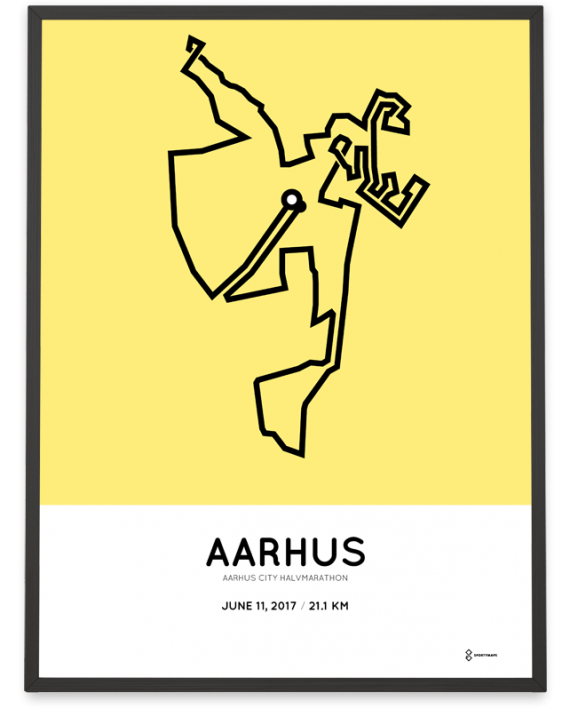 2017 Aarhus city half marathon course poster