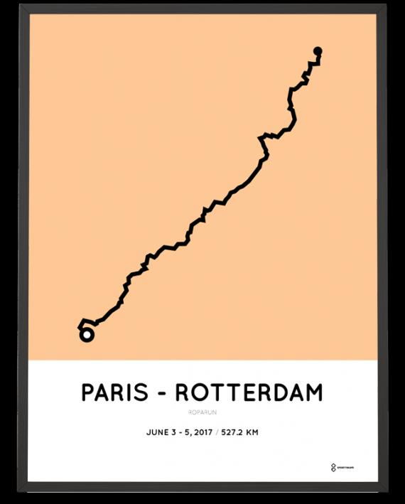 2017 Roparun parijs naar rotterdam route poster