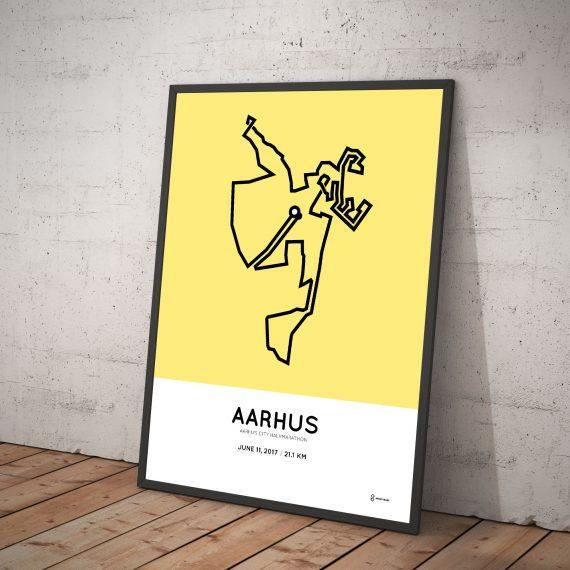 2017 Aarhus city halvmarathon course poster