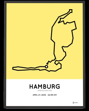 2008 Hamburg marathon strecke print