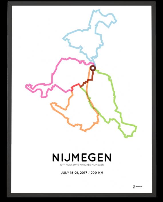 2017 Nijmeegse Vierdaagse 200km route poster