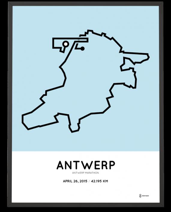 2015 Antwerp marathon route print