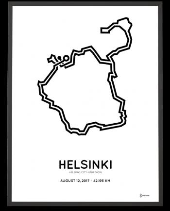 2017 Helsinki city marathon route poster