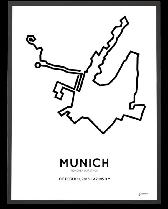 2015 Munich marathon strecke course print