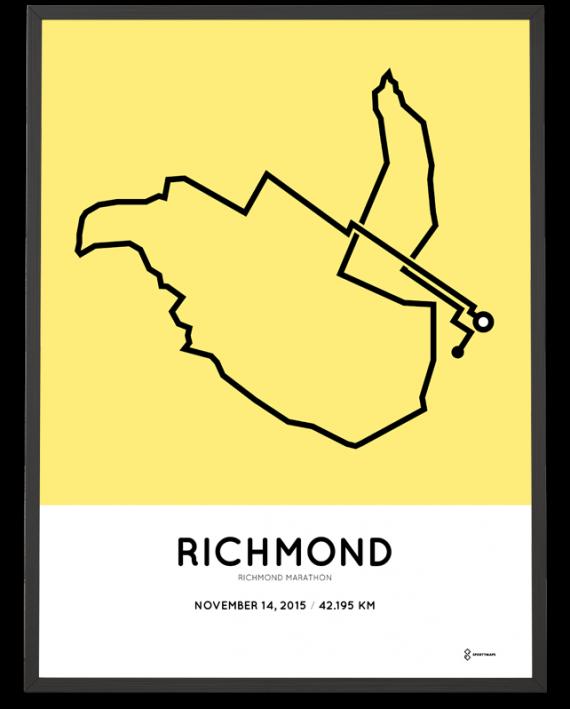2015 Richmond marathon coursemap print