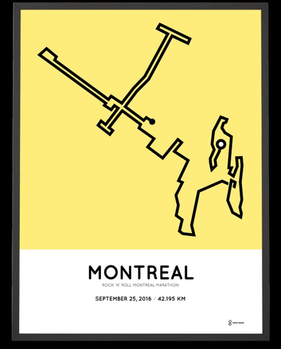 2016 Montreal marathon course print