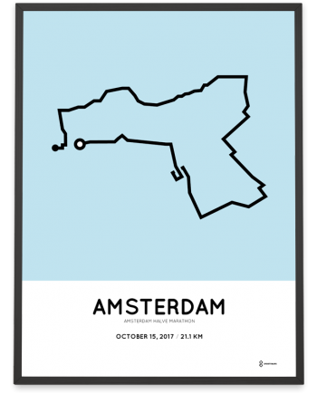 2017 Amsterdam halve marathon parcours poster