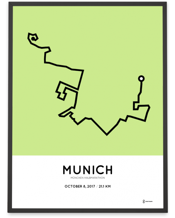 2017 Munchen halbmarathon route map poster