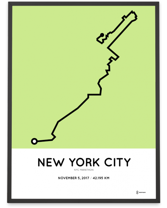 2017 New York city marathon course poster