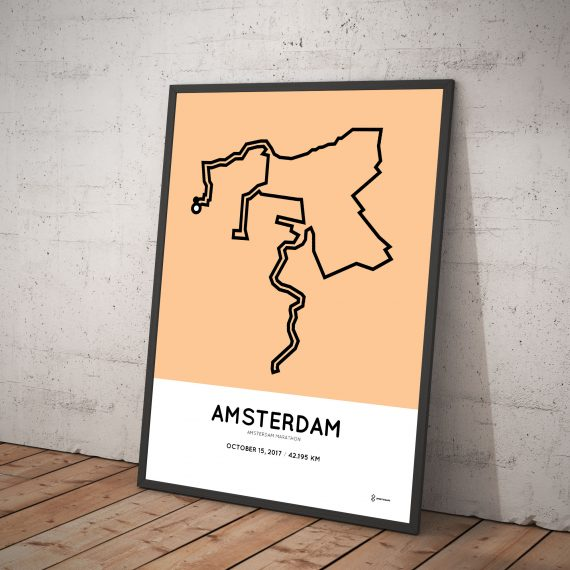 2017 Amsterdam marathon course print
