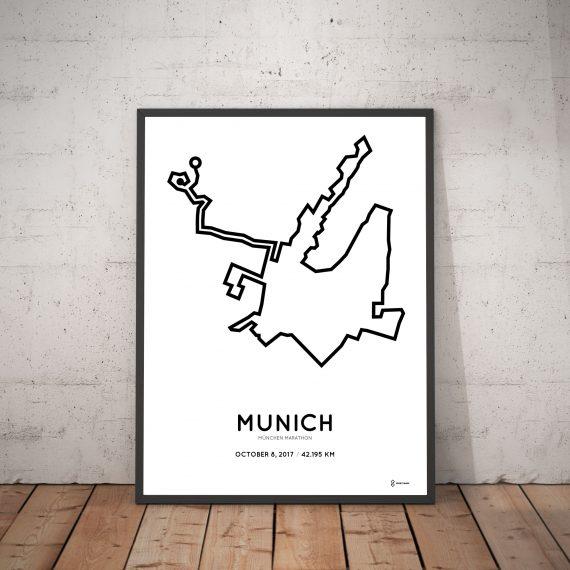 2017 Munchen marathon strecke map poster