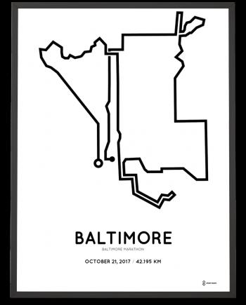2017 Baltimore marathon course print