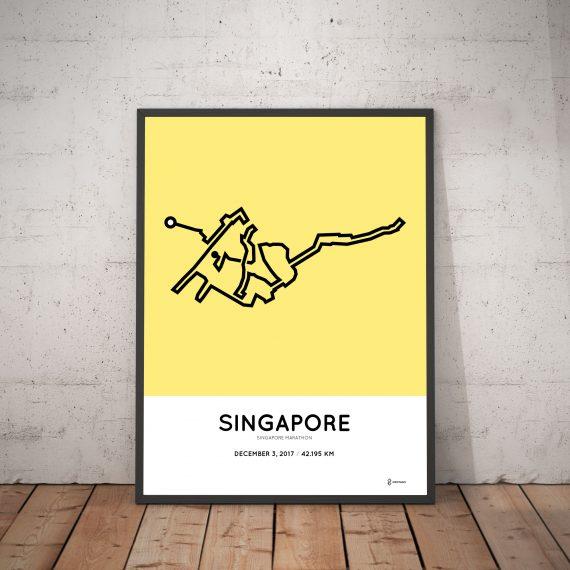 2017 Singapore marathon course map print