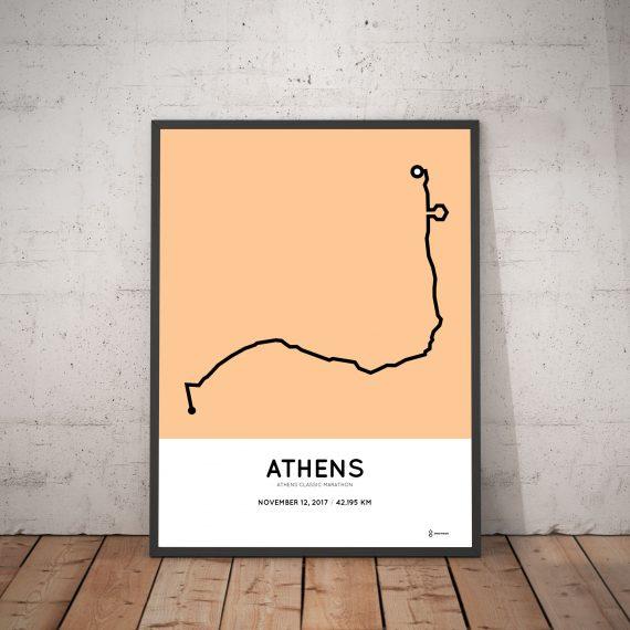 Athens marathon route print 2017