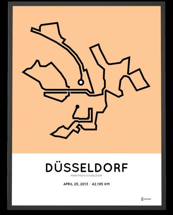 2013 Dusseldorf marathon strecke map poster